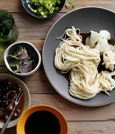 Australian Gourmet Traveller recipe for hiyamugi noodles with Japanese pickles.