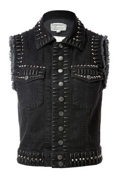 Current Elliott Studded Denim Vest, $202,  stylebop.com