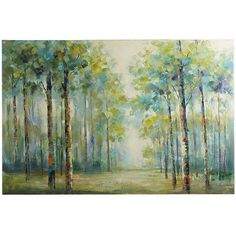 Looking at this gorgeous hand-painted canvas of a muted forest scene, one might be inclined to ponder what lies ahead. The answer may be a multitude of decorating possibilities, a more serene environment and the promise of a beautiful room.