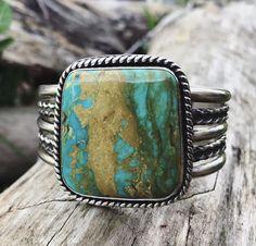 Turquoise Cuff Bracelet, Size M | Southwestern Jewelry | Kingman Turquoise | Bohemian Jewelry | Rustic Artisan Jewelry