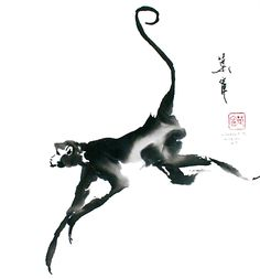 Monkey by Ning Yeh Japanese Painting, Chinese Painting, Chinese Art, Chinese Brush, Monkey Drawing, Monkey Art, Japanese Prints, Japanese Art, Animal Drawings