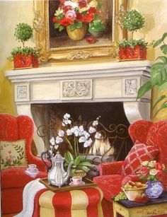 """Fireside Chat Mary Kay Crowley Design. h1""""Fireside Chat"""" Mary Kay Crowley Design_h1""""Fireside Chat"""" Mary Kay Crowley Design.A reproduced lithograph of a Mary Kay Crowlet Original Painting. This exquisite design displays expert craftsmanship and fine taste at a .. . See More Hand Paintings at http://www.ourgreatshop.com/Hand-Paintings-C1108.aspx"""