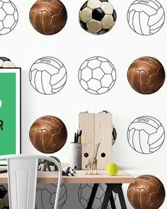 Voetbal behang | Tinkle&Cherry kids - Tinkle&Cherry Place Cards, Place Card Holders, Retro, Wallpaper, Interior, Kids, Design, Wallpapers, Young Children
