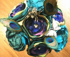 Peacock colored bouquet