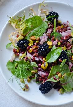 summer salad with blackberry vinaigrette