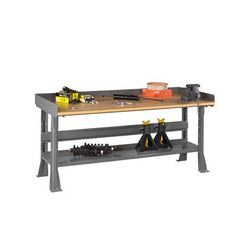 "Tennsco Compressed Wood Top Workbench Size: 72"" W x 30"" D, Finish: Light Grey"
