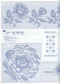 "Photo from album ""punto de cruz on Yandex. Cross Stitch Borders, Cross Stitch Flowers, Cross Stitch Designs, Cross Stitch Patterns, Filet Crochet Charts, Batik Pattern, Shawl Patterns, Crochet Flowers, Blackwork"