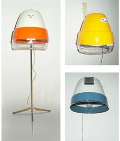 Yellow wall lamp made out of a hairdryer from the sixties (Kalorik Flamingo).