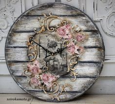 Clock with decoupage
