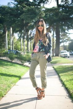 floral print top and olive colored jeans + zara heels