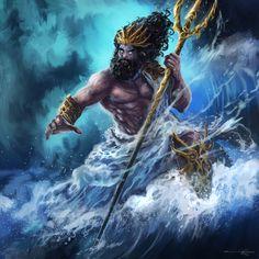 Card art for Poseidon. Poseidon Greek Mythology, Greek Mythology Tattoos, Greek Gods And Goddesses, Greek And Roman Mythology, Mythological Creatures, Mythical Creatures, Greek God Tattoo, Poseidon Tattoo, Roman Gods