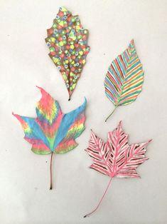 leaf chalk seniors easy leaves drawings artbarblog draw drawing dementia crafts quick fall pintando folhas