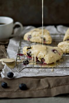 Blueberry Scones with Lemon Glaze