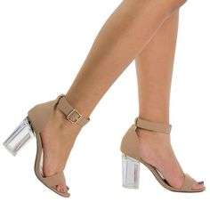 Nude By Bamboo, Lucite Acrylic Clear Block Heel Sandal, Open Toe Transparent Perspex Nude Sandals, Dress Sandals, Dress Shoes, Knee High Boots Dress, Dress With Boots, Glass Heels, Clear Block Heels, Evening Sandals, Open Toe Shoes