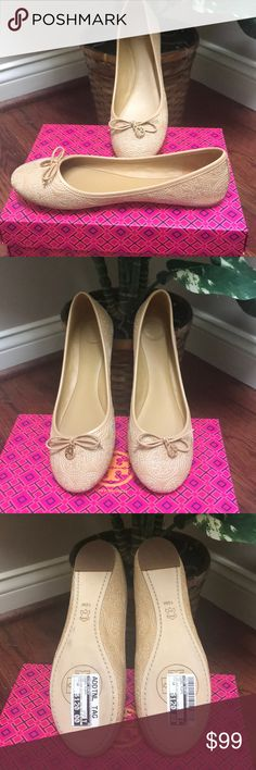 NWT Tory Burch Tan Flats NWT Tory Burch Tan Flats, Chelsea Stitched Logo w small gold tone logo charm at tie. (Box not included). Tory Burch Shoes Flats & Loafers