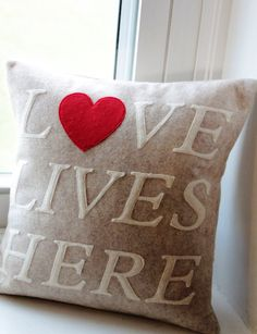 12x12 Love Lives Here Pillow Cover by KelsCozyCorner on Etsy, $35.00