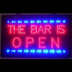 "LED Signs: Bar is Open by Brookstone. $110.00. Color: Red & Blue. Great for any bar.. Plugs into regular outlets.. Size: 16""H x 26""W x 1""D. Ready to hang.. LED Signs: Bar is Open. Focused on bringing the fun and beauty of real LED into your home or business! This Bar is Open LED Sign gives a colorful edge with real LED lights. This Bar is Open LED Sign is very bright! The sign features 100,000 hour rated LED lights that can either be switched all on, or switched to..."