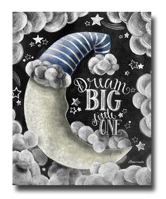 Rêve un peu gros, tableau Art, Chalk Art, Decor de pépinière, pépinière Art, tableau signe, Dream Big Wall Art, rêve grand panneau, bébé