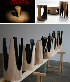 Kaspar Hamacher strips raw logs of their bark, then sets smaller blazing logs atop the chopped stumps – by criss-crossing and repeating, a pair of bisecting lines slices down into the underside of each seat (leaving four rough-edged legs behind).