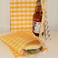 """Yellow Chevron Sandwich / Favor Bags. These would be so cute for a couples """"bbq"""" baby shower!"""