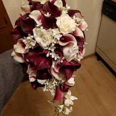 Chelsea Shields added a photo of their purchase Calla Lily Bridal Bouquet, Calla Lily Boutonniere, Cascading Wedding Bouquets, Bride Bouquets, Flower Bouquet Wedding, Bridesmaid Bouquet, Rose And Lily Bouquet, Burgundy Bouquet, Burgundy Flowers
