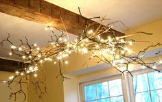 Make your own chandelier - Branches and string lights!
