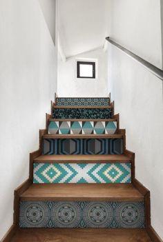 papier peint sur les marches