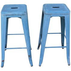 Powder blue Industrial bar stools with open hole in the seats for moving place to place. These stools are original blue painted metal and in strong, sturdy condition. Industrial Bar Stools, Metal Bar Stools, Rustic Industrial, Counter Stools, Bar Stools With Backs, Metal Stool, Painted Metal, Metallic Paint, Powder