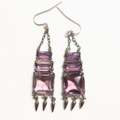 Vintage Art Deco Purple Dangle Earrings 1930s Long Faceted Czech Glass Drop Earrings Antique Estate Jewelry Wedding Prom Formal Jewelry