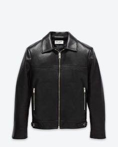 'Keith' café racer Jacket in Black Leather CLASSIC SAINT LAURENT LEATHER CAFÉ RACER JACKET WITH ZIP POCKETS, ADJUSTABLE BUCKLES AT WAISTBAND AND ZIP CUFFS.