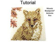 Mosaic Beadpoint Beaded Autumn Fall Fox Coaster Critter Collection Beading Pattern Tutorial