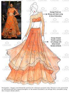 #DIY Orange Net Layered #Lehenga Choli