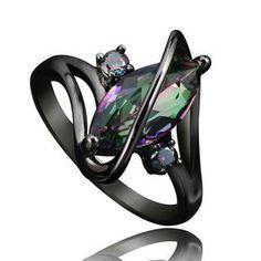 Marquise Topaz Black Gold Filled Ring - Mystical Magik