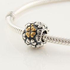 CLLW030 925 Sterling Silver Flower Pandora beads Screwed Core Pandora Clover Good Luck