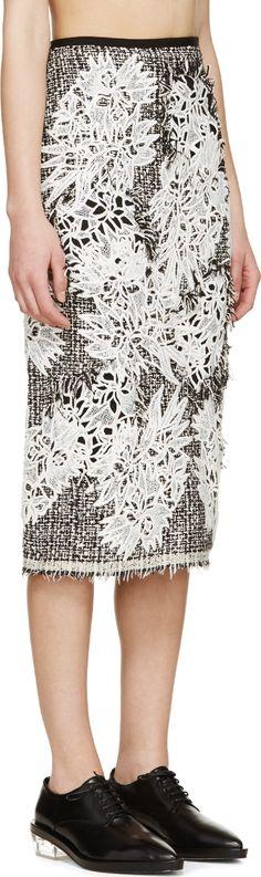 Erdem: Black & White Tweed Safia Skirt | SSENSE