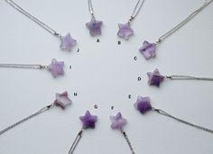 Light amethyst star gemstone necklace stone by FortunateFreaks