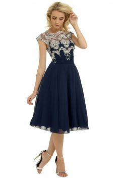 Chi Chi 50s Vintage Party Ceska Dress Navy