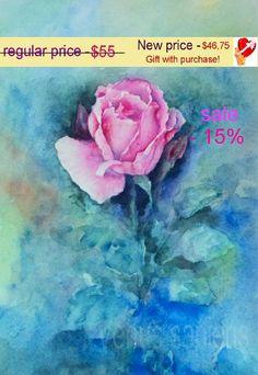 Original Aquarell rosa rose Aquarell Etüde. von VenusSapiens