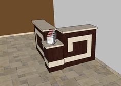This simple 5′ x 6′ information center kiosk stands 42″ tall at it's highest point with a 30″ lower information top in the front corner. Laminate colors can be customized to fit any interior for an information/welcome desk that is sure to grab the attention of your guests. $4000 plus delivery. #churchwelcomecenterfurniture