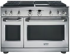 My dream range...48 inch with 4 burners, griddle and grill.  Also has 2 duel fuel ovens that work both as conventional and convection ovens.
