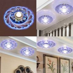 Modern Crystal LED Ceiling Fixture Blue Light Superior Home Lamp Chandelier For Corridor Restaurant
