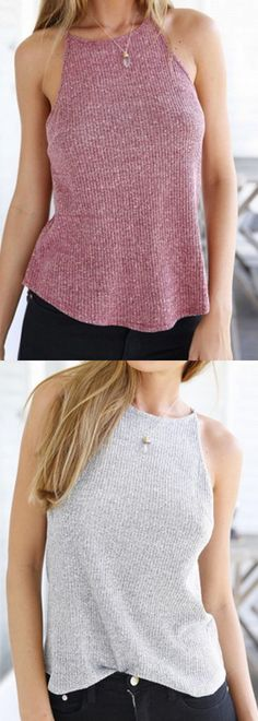 Violet Red&Light Gray Cut Away Dipped Hem Knit Vest-CHOIES