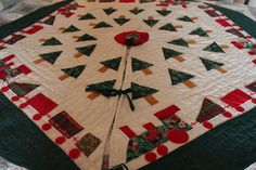 Christmas Tree Skirt Hand Made Vintage Quilt by TalesofTime, $45.00