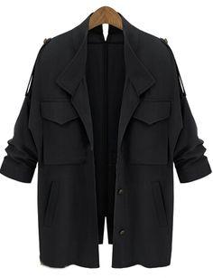 Abrigo suelto bolsillos manga larga-negro 26.98