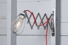 Scissor Wall Lamp  Industrial Wall Light  Wire Cage by IndLights, $150.00
