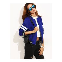 SheIn(sheinside) Contrast Trim Varsity Baseball Jacket ($19) ❤ liked on Polyvore featuring outerwear, jackets, blue, striped jacket, bomber style jacket, stand collar jacket, blue zipper jacket and blue striped jacket