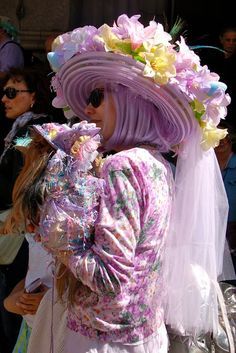 NYC easter bonnet parade with a matching outfit for the pup