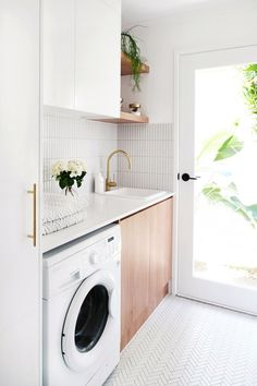 MY LAUNDRY RENOVATION REVEALED — Adore Home Magazine Love the white and wood combo, just white cabinets would be too white. The full light door makes the room sunny and cheerful. Laundry Decor, Laundry Room Organization, Laundry Room Design, Laundry In Bathroom, Organization Ideas, Laundry Storage, Organizing, Laundry Room Small, Laundry In Kitchen