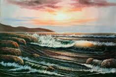 """Lyrical Old Oil Paintings Reproduction Seascape Painting Sunset, Size: 36"""" x 24"""", $104. Url: http://www.oilpaintingshops.com/lyrical-old-oil-paintings-reproduction-seascape-painting-sunset-1935.html"""