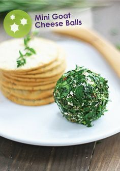 Delicious Mini Goat Cheese Balls that work great with St. Patrick's Day parties. Holiday Recipes, Great Recipes, Snack Recipes, Snacks, Holiday Ideas, Healthy Recipes, Wine Cheese, Cheese Ball, Goat Cheese